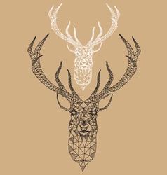 Christmas deer with geometric pattern vector
