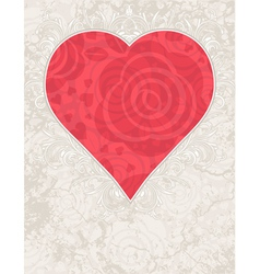 Lovely valentine red heart with roses vector