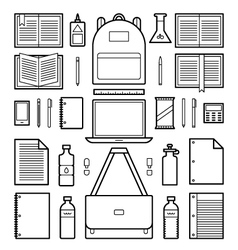 Icons school supplies vector
