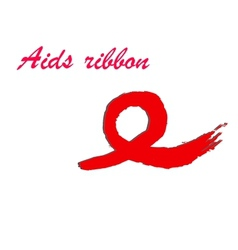 Hand-drawn ribbon symbolizing aids vector
