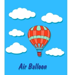 Air balloon in sky and clouds vector