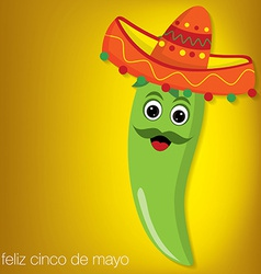 Chilli pepper cartoon character card in format vector