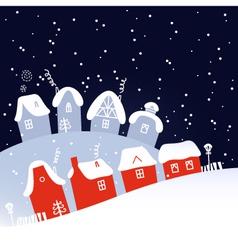 Winter christmas snowing night village vector
