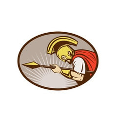 Roman soldier or gladiator attacking with spear vector