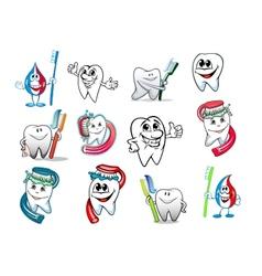 Cartoon tooth hygiene set vector