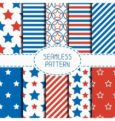 Set of geometric patriotic seamless pattern with vector
