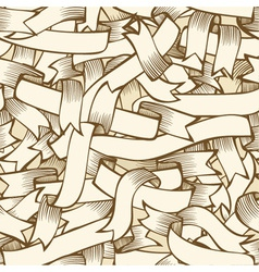 Hand-drawn ribbons seamless pattern vector