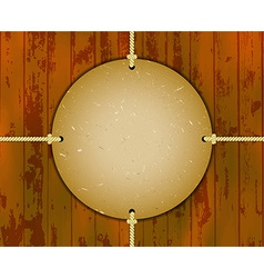 Round cardboard frame on the ropes vector