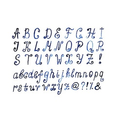 Blue watercolor alphabet hand drawn artistic font vector