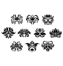 Floral design elements with leaves scrolls vector