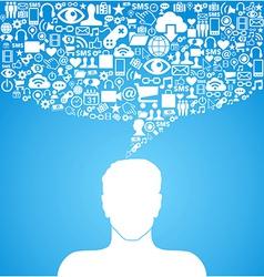 Social media communication man vector