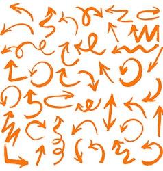 Orange hand drawn arrows set vector