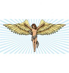 Angel and crucifix vector