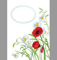 Greeting card with colorful flowers vector