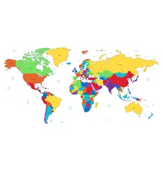 Multicolored detailed world map vector
