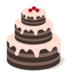 Tasty chocolate cake vector