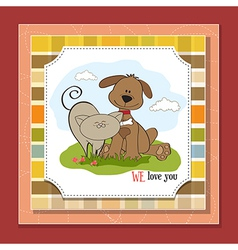 Dog cats friendship vector