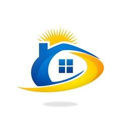 House sun solar abstract logo vector
