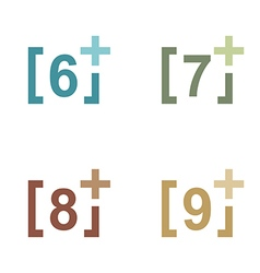 Logo number plus figure colorful design icon vector