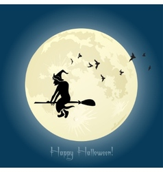 Witch flying on broom stick in halloween night vector