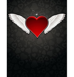 Lovely red heart on black background vector