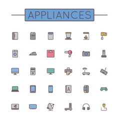 Colored appliances line icons vector