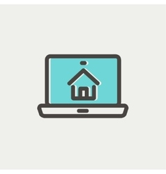 Online house shopping thin line icon vector
