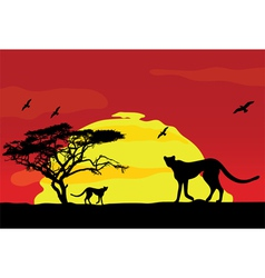 Wild african animals at sunset vector