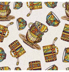 Seamless pattern with teapot and cup vector