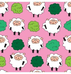 Sheep and shrubs seamless pattern vector