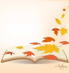Autumn leaves background in the book vector