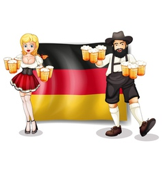 The flag of germany with a man and a woman vector