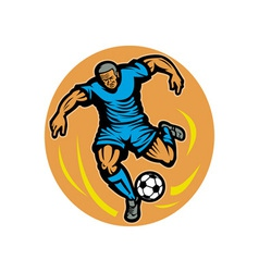 Soccer player kicking the ball vector