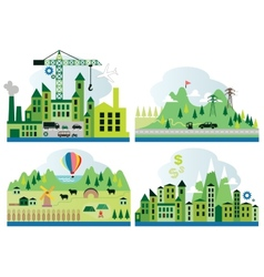 Cartoon map with different landscape vector