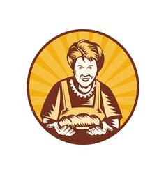 Grandma granny baker cook loaf bread vector
