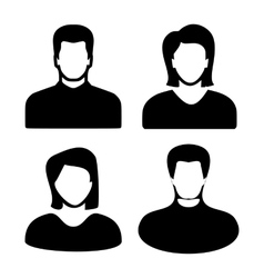 Two men and women black avatar profile picture set vector