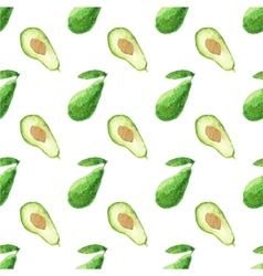 Seamless watercolor pattern with avocado on the vector