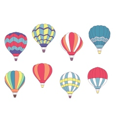 Set of colored hot air balloons vector
