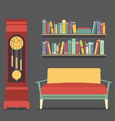 Living room interior design vector