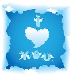 Card for valentines day with funny angels letters vector