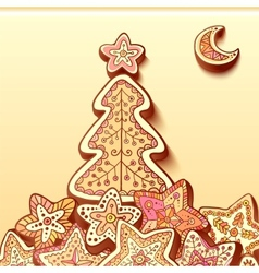 Christmas tree chocolate honey-cakes background vector