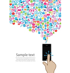 Template hand design phone idea with social vector
