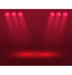 Red lights on the stage vector
