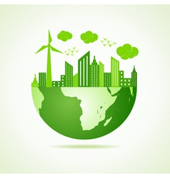 Eco earth concept with green cityscape vector