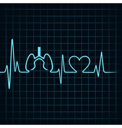 Heartbeat make lungs and heart symbol vector