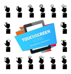 Touch gestures icons black vector