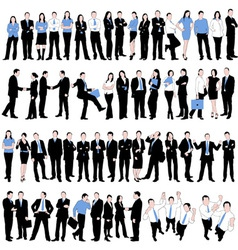 60 business people silhouettes vector