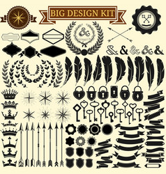 Big vintage design kit collection of 100 vector