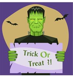 Frankenstein holding banner vector