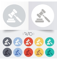 Auction hammer icon law judge gavel symbol vector